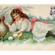 A vintage Easter postcard of a girl with a hen, chicks and eggs on a farm — Stock Photo #12094422