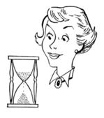 A black and white version of a vintage style illustration of a woman and an hour glass — Stock Photo