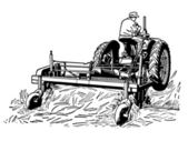 A black and white version of a vintage illustration of a man tending to fields with a tractor — Stock Photo