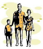 Een zwart-wit versie van een familie vakantie — Stockfoto