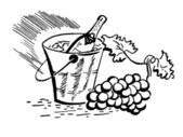 A black and white version of a vintage illustration of a bottle of wine and fresh grapes — Stock Photo