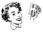 A black and white version of a graphical portrait of a woman with wads of cash — Stock Photo