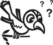 A black and white version of a bird sitting on a branch with question marks — 图库照片