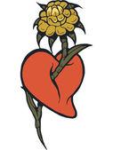 それを通して来て花と心のステンシル — ストック写真