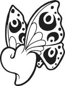 A black and white version of a stencil of a heart with butterfly wings — Foto Stock