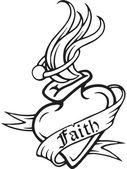A black and white version of a stencil of a heart with a text banner draped around it reading 'faith' — Stock Photo