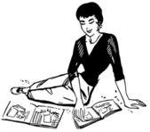 Una versión blanca y negro de una imagen de una mujer hojeando revistas vintage — Foto de Stock