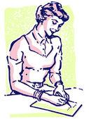 Um retrato de estilo vintage de uma mulher escrevendo uma nota — Fotografia Stock