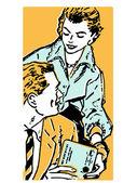 Een vrouw een perceel overhandigen aan haar echtgenoot — Stockfoto