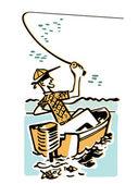 卡通风格形象的一个钓鱼的人 — 图库照片