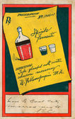 Vintage postcard with alcoholic beverages — Stock Photo