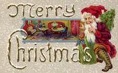 Vintage kerstkaart van santa claus te wachten voor de kinderen in slaap te vallen — Stockfoto