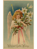 A vintage Easter postcard of an angel holding lilies — Stock Photo