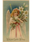 Een vintage pasen briefkaart van een engel houden lelies — Stockfoto