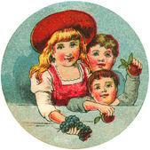 古董形象的三个孩子 — 图库照片