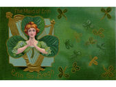 A vintage illustration of 'The Maid of Erin' surrounded by Shamrocks — Stock Photo
