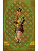 A vintage St. Patrick's Day illustration of an Irish man with a patter of shamrock's — Stock Photo