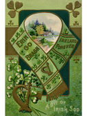 A vintage collage illustration of a scarf, harp, shamrocks and a rural landscape — Stock Photo