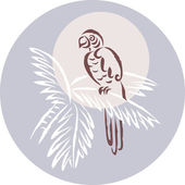 Um pássaro tropical empoleirar-se em uma árvore — Foto Stock