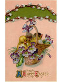 A vintage Easter postcard of a basket full of chicks and violets hanging from a pussy willow branch — Stock Photo