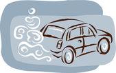Bir araba ve egzoz bulut — Stok fotoğraf