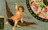 A vintage True Love Valentine with Cupid riding a sparrow — Stock Photo