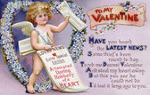 Vintage Valentine postcard with a cupid newspaper boy — Zdjęcie stockowe