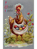 A vintage Easter postcard of a hen carrying colored Easter eggs — Stock Photo