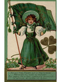 An Irish poem printed on a vintage card with an illustration of a young girl with shamrocks and a flag — Stock Photo