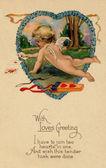 Aşk tanrısı iskambil yanındaki ok ve yay ile bir vintage Sevgililer kartpostal — Stok fotoğraf