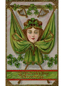 A vintage St. Patrick's Day Souvenir card with images of a woman, flags and harps — Stock Photo