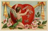 Um cartão de dia dos namorados vintage com um querubim remendar um coração partido — Foto Stock