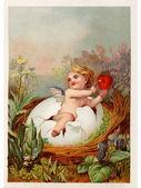 Um postal de páscoa vintage com um querubim segurando uma chave e coração quebrar um ovo — Foto Stock