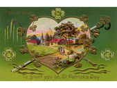 A vintage card of a rural Irish landscape in a heart shaped frame — Stock Photo