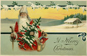 Vintage Christmas card of Santa Claus in a snowy winter scene — Stockfoto