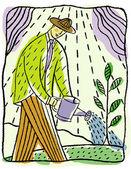 Mann, die grünen pflanzen gießen — Stockfoto