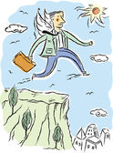 Business man leaping from cliff — Foto Stock