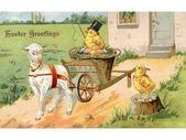Une vintage carte postale de pâques d'une poule à cheval sur un wagon de pâques tiré par un agneau — Photo