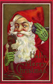 Vintage Christmas card of Santa Claus making a phone call — Stock Photo