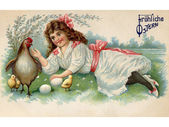 A vintage Easter postcard of a girl with a hen, chicks and eggs on a farm — Stock Photo