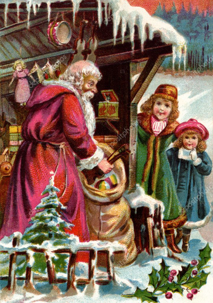 Vintage Christmas card of Santa Claus delivering gifts to two girls — Stock Photo #12092387
