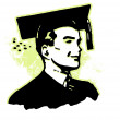 Retro image of a young man dressed in graduation attire — Stock Photo