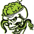 Stock Photo: Skull with bulging brains and snake and olive filled tooth pick