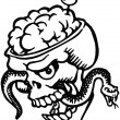A black and white version of a skull with bulging brains and a snake and olive filled tooth pick — Stock Photo