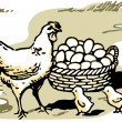 An illustration of a hen with two small chicks and a large basket of eggs — Stock Photo #12124093