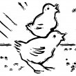 A black and white version of two small chirping chicks — 图库照片