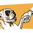 A cleaver Bulldog shaking hands with its owner — Stock Photo