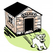 A black and white version of a cartoon style drawing of a dog skidding from its kennel — Stock Photo