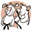 Cartoon style drawing of two sheep — Stock Photo #12124318