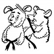 Black and white version of black and white version of cartoon style drawing of two sheep — Stock Photo #12124322